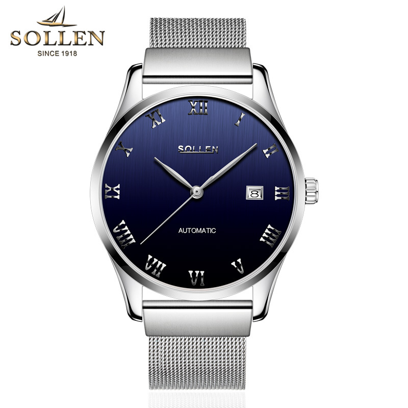 SOLLEN Mens Watches Top Brand Luxury High Quality Full Steel Automatic Mechanical Watch Classic Men Fashion Male Clocks top high speed full teeth piston