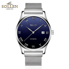 SOLLEN Mens Watches Top Brand Luxury High Quality Full Steel Automatic Mechanical Watch Classic Men Fashion Male Clocks