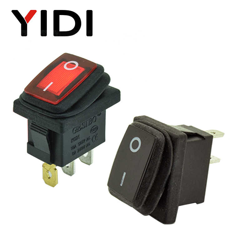 12V 220V czerwona dioda led 10A 250V AC przełącznik dźwigniowy z wodoszczelną osłoną 3 pin SPST ON OFF deska rozdzielcza samochodu łódź Marine Rocker switch