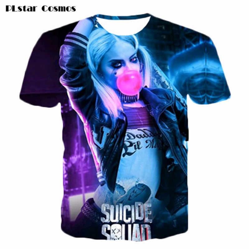 ed4f62577eb0 PLstar Cosmos Summer fashion new Short sleeve Suicide squad 3D print t  shirt Harley Quinn joker