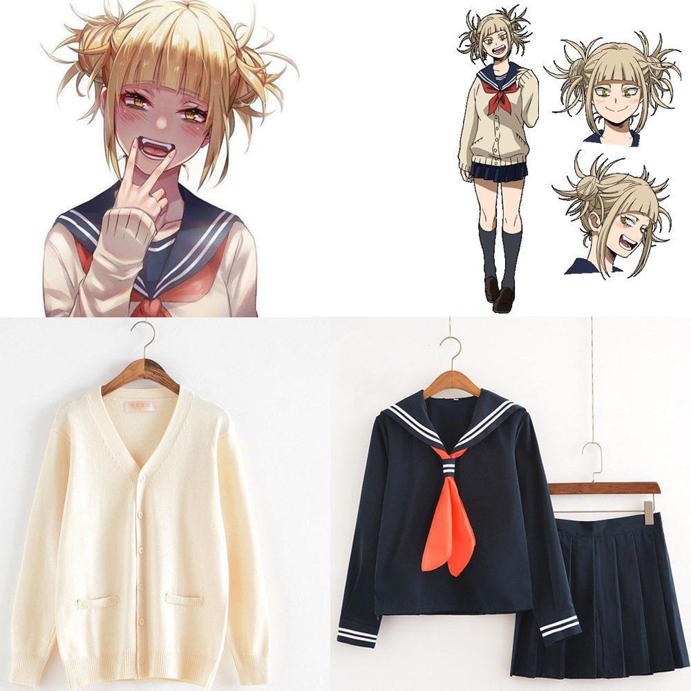 My Boko No Hero Academia Himiko Toga Costume Cardigan Sweater Sailor JK Uniform Cardigan Cosplay