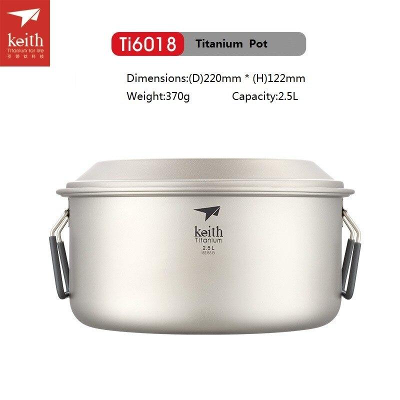 Keith Pot de titane en plein air Camping Pot à soupe ultra-léger Picnice ustensiles de cuisine Ti6015/Ti6018