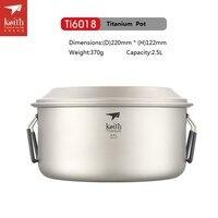 Keith Titanium Pot Outdoor Camping Soup Pot Ultralight Picnice Cookware Ti6015/Ti6018