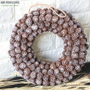 Image 1 - Navidad 2018 Natural Christmas Wreath Handmade Craft Door Wreaths Snow Christmas Decorations for Home halloween Party Wreath
