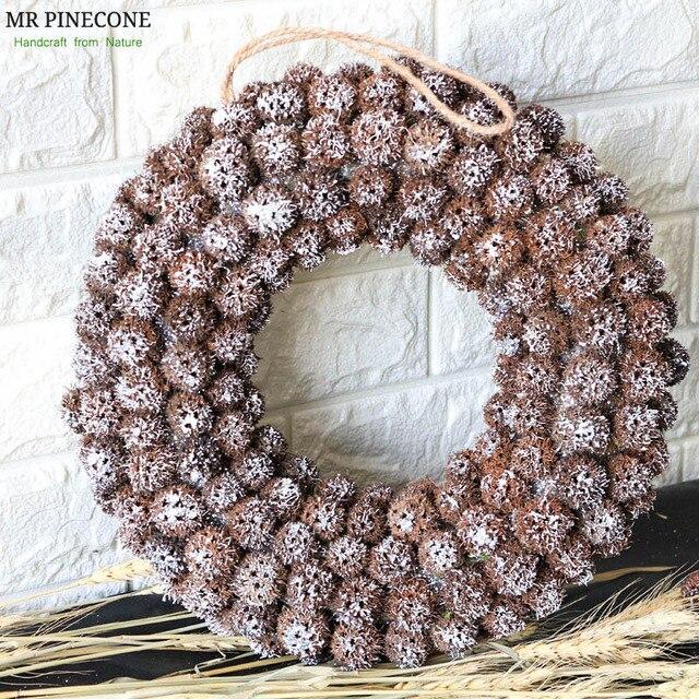 Navidad 2018 Natural Christmas Wreath Handmade Craft Door Wreaths Snow Christmas Decorations for Home halloween Party Wreath