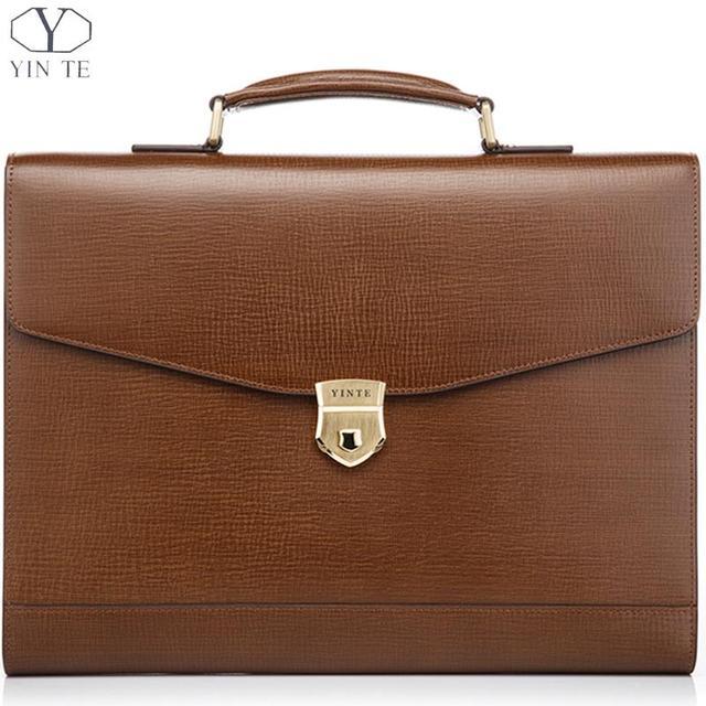 Yinte Men S Leather Briefcase Messenger Handbag Laptop Office Bag Lawyer Teacher Business Hard Bags Portfolio