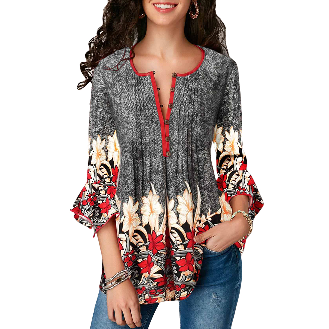 Women Blouse Shirts Three Quarter Sleeve Floral Print Causal Loose Tunic 2019 Fashion Plus Size Ladies Blouses Clothing 5xl(China)