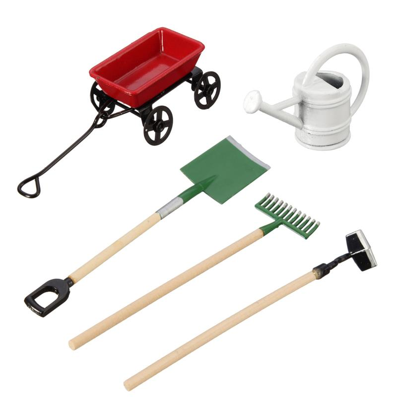 DIY Watering Can Pulling Cart Spade Rake Garden Tools For Children Dolls House Miniatures Accessories Set