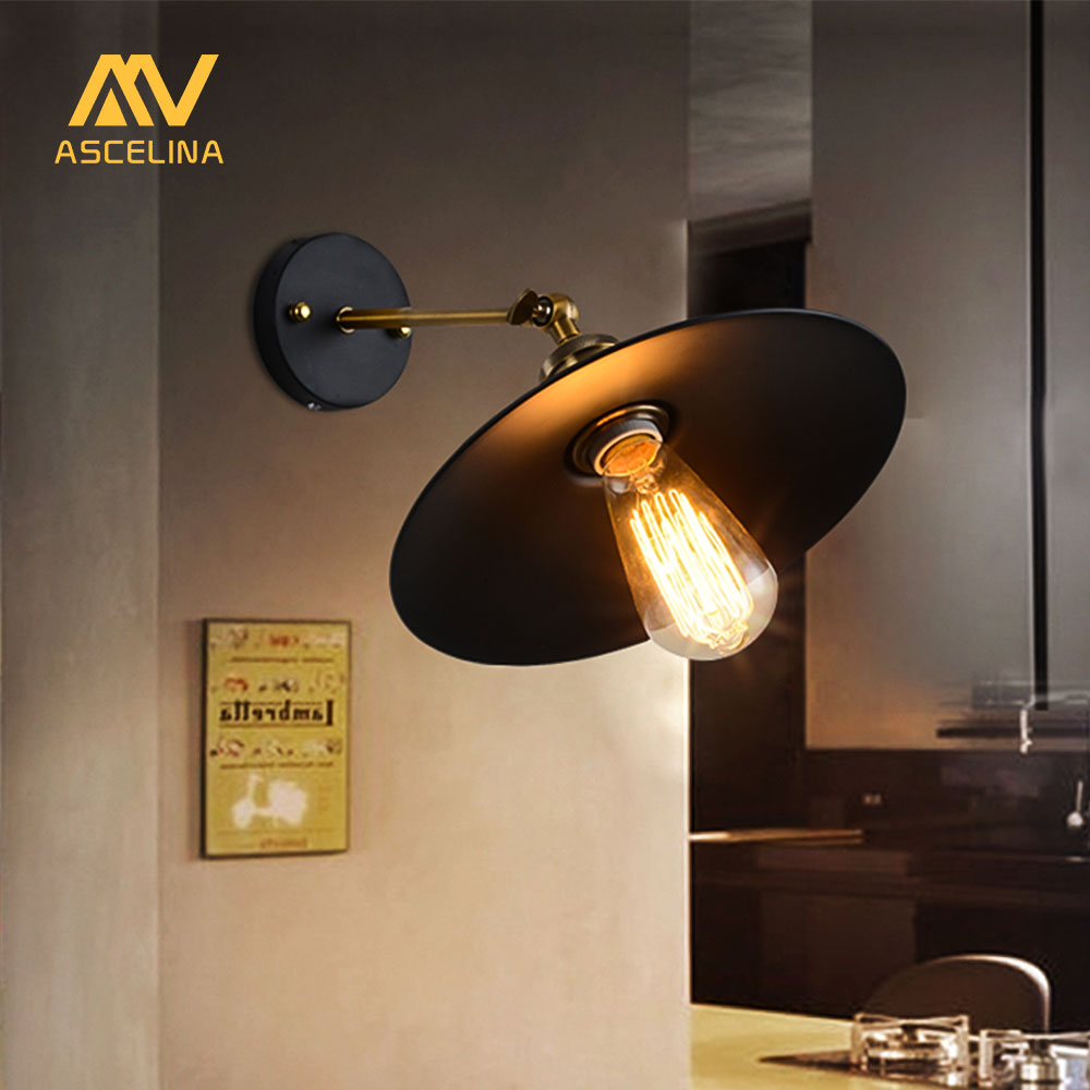 American Loft Industrial Wall Lamps Vintage Bedside Wall Light Metal 22cm Lampshade E27 Edison Bulbs 110V/220V wholesale price loft vintage industrial edison wall lamps clear glass lampshade antique copper wall lights 110v 220v for bedroom