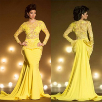 Yellow Lace Long Sleeve Vestido Longo Mermaid Evening Gowns Arabic Style Formal Party O Neck Flowers mother of the bride dresses