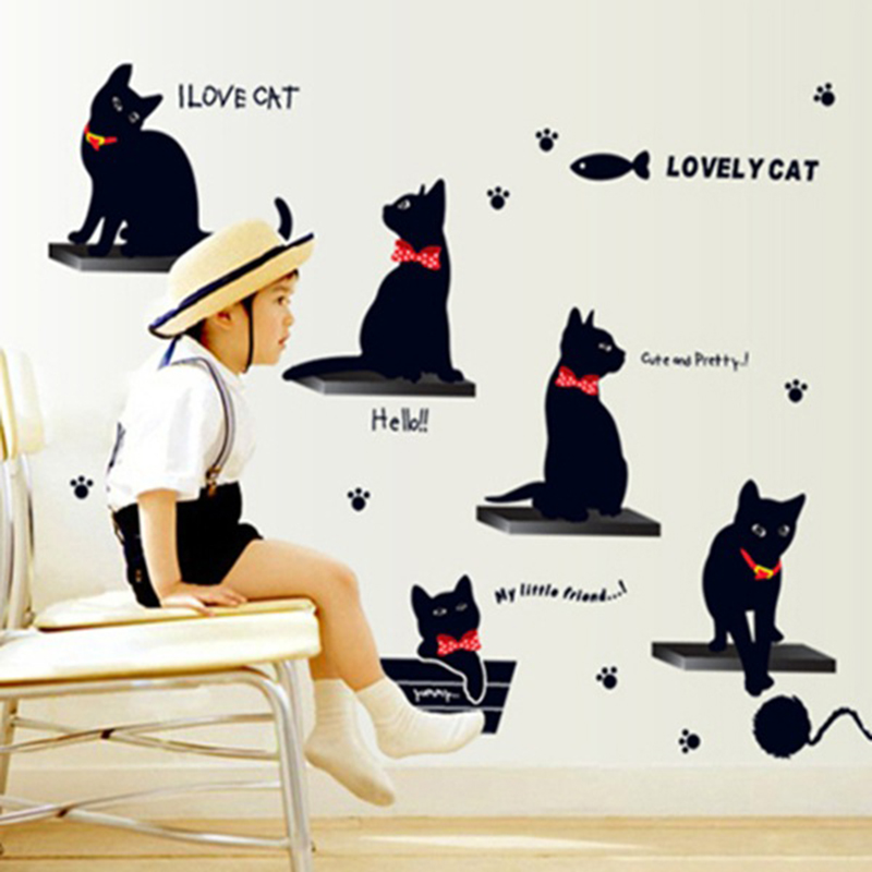 Aliexpress.com : Buy Cheap Sale The Theme Of Black Cats And Fish Wall  Stickers Lovely Cat Decor For Kids Room 3d Wallpaper Home Decor Europe  Poster From ... Part 61