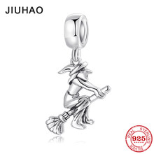 Hot fairy tale Magical witch with Broom charms fashion Pendants fit Original Pandora Necklaces Bracelet Jewelry making(China)