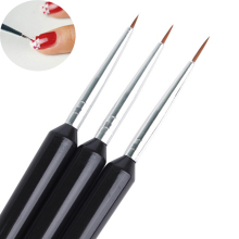 Hot 3PCS/set Acrylic French Nail Art Design Painting & Dotting Pen Polish Brushes Black Nail Tools Free shipping