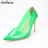 Sorbern Green Clear PVC High Heels Women Shoes Patent Pump Shoes Woman DIY Colors Ladies Night Party Stilettos Heels 34 46