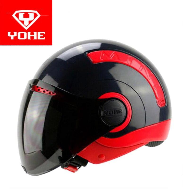 2017 Été Nouveau YOHE Moitié Du Visage moto casque MINI demi de couverture vélo Électrique moto casques en ABS taille M L XL