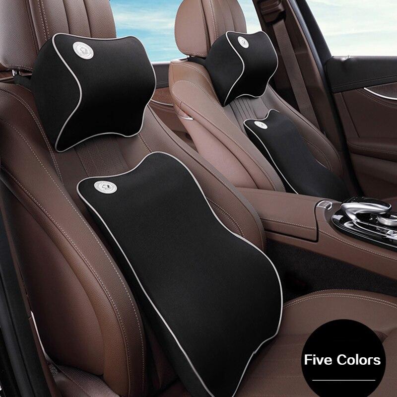 Universal para coche almohada de memoria algodón coche reposacabezas cuello almohada coche Lumbar respaldo almohada 1 Unidades 2 piezas de calidad superior