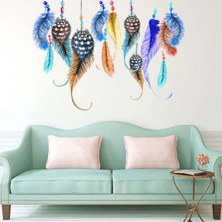 Beau Colorful Feathers Wall Stickers Decals Women Home Salon Bedroom Window  Furniture Africa Decor Ethnic Arts Wall Papers Murals In Wall Stickers From  Home ...