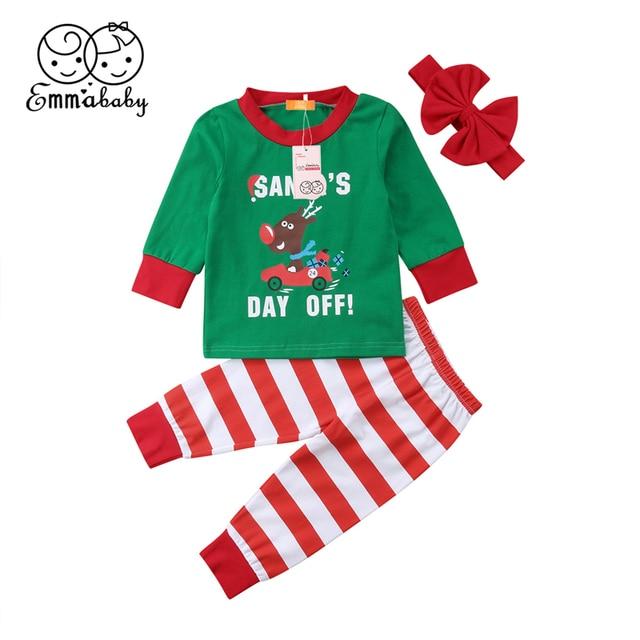 2bd778028c8 Christmas Newborn Baby Girls Boys Clothing Set 3Pcs Toddler Kids Deer Top  T-Shirt Striped Pants Headband Outfit Pajamas Clothes