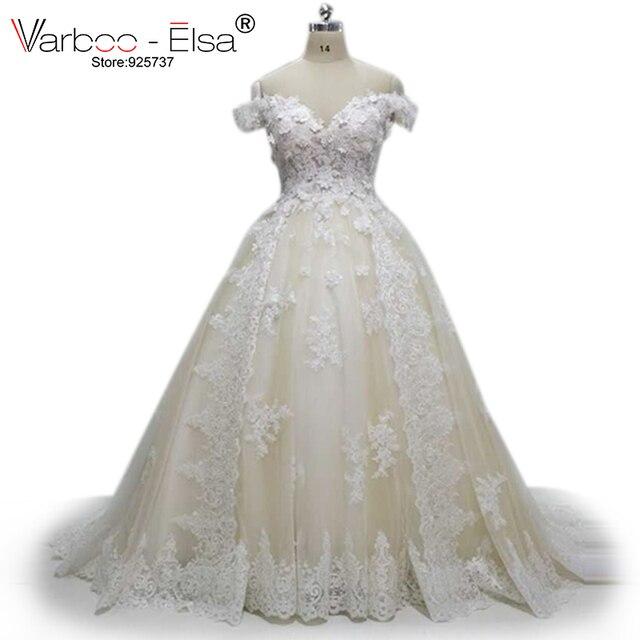 210ab29259 VARBOO ELSA 2018 Muslim Wedding Dress Champagne Lace Bridal Ball Gown Sexy  Off Shoulder Sweetheart Wedding Gown vestido de novia