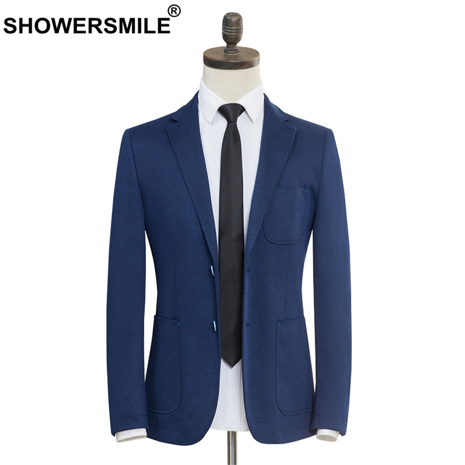 SHOWERSMILE Brand Smart Casual Blazer Men Slim Fit Blue Suit Jacket Male Gentlemen Plus Size Blazer Jacket Autumn Wedding Coat