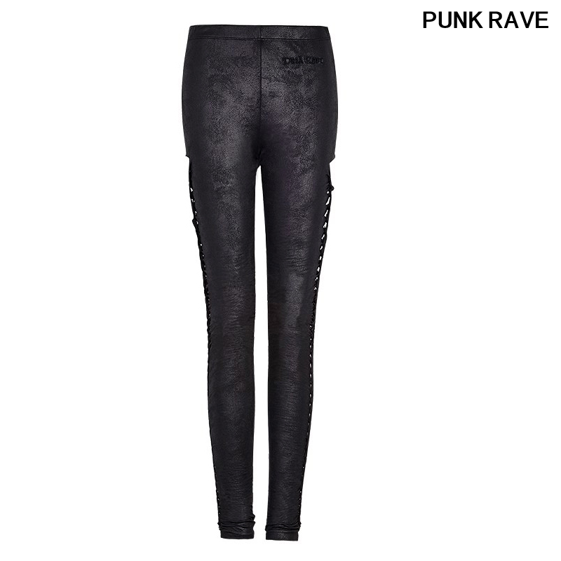 Rock Black Slim High Waist Hollow-Out Sexy Casual Pants Gothic Women Crack Twist PU Leather Leggings Trousers PUNK RAVE PK-096