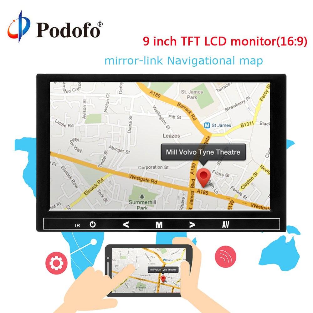 Podofo 9 ''Voiture Moniteur Inverse De Sauvegarde Parking TFT LCD Rétroviseur Moniteur Mini TV et Ordinateur Support D'affichage AV HDMI VGA