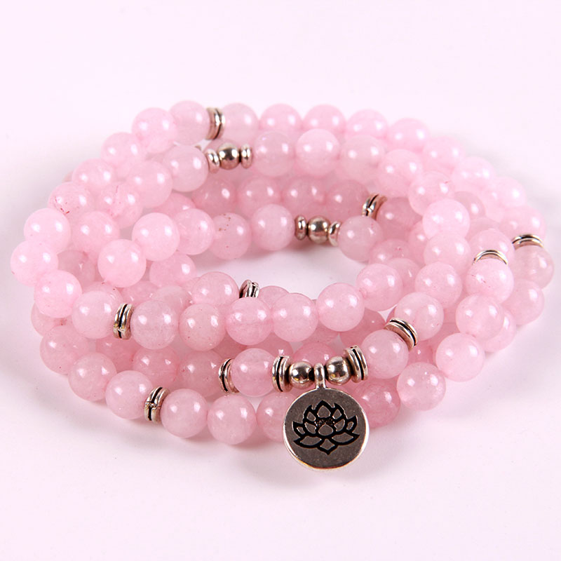 HOT 2018 PINK Crystal Stone Bracelet Bangles Bracelet Necklace 108 Mala Beads Bracelets Lotus/Buddha/OHM Women Yoga Jewelry