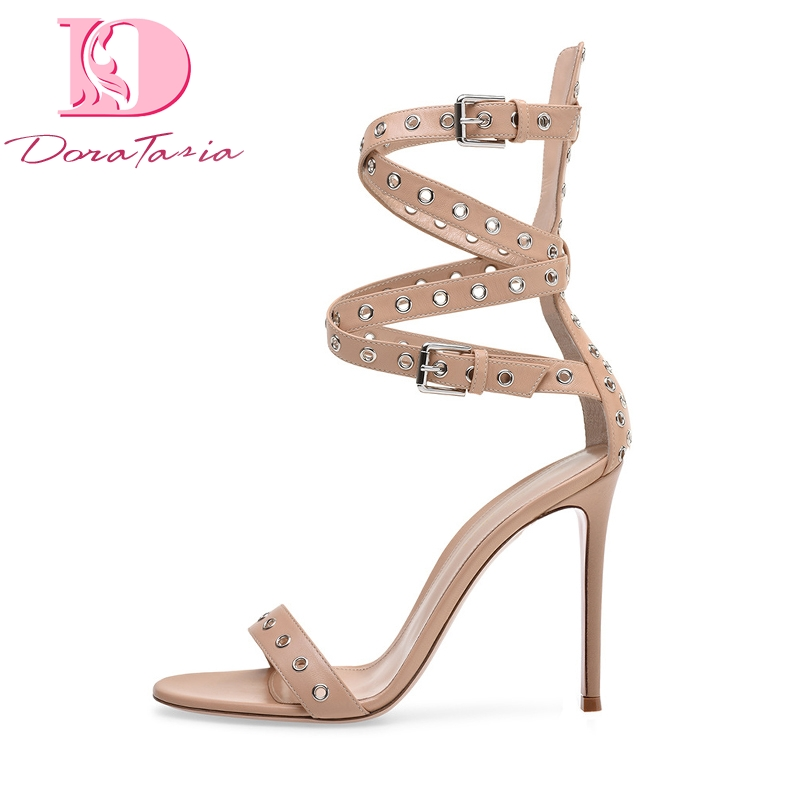 DoraTasia Big Size 34-46 Rivets Gladiator Thin High Heels Summer Shoes Sandals Women Sexy Party Prom Brand Design Woman Shoes doratasia 2018 large size 33 43 brand design fur summer women shoes sandals sexy platform thin high heels party shoes woman