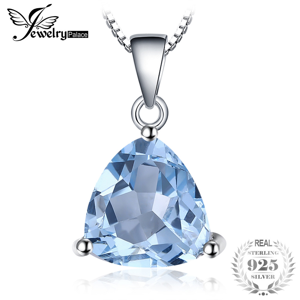 MMC 2.2ct Square Natural Sky Blue Topaz Jewelry Silver Pendants Necklaces