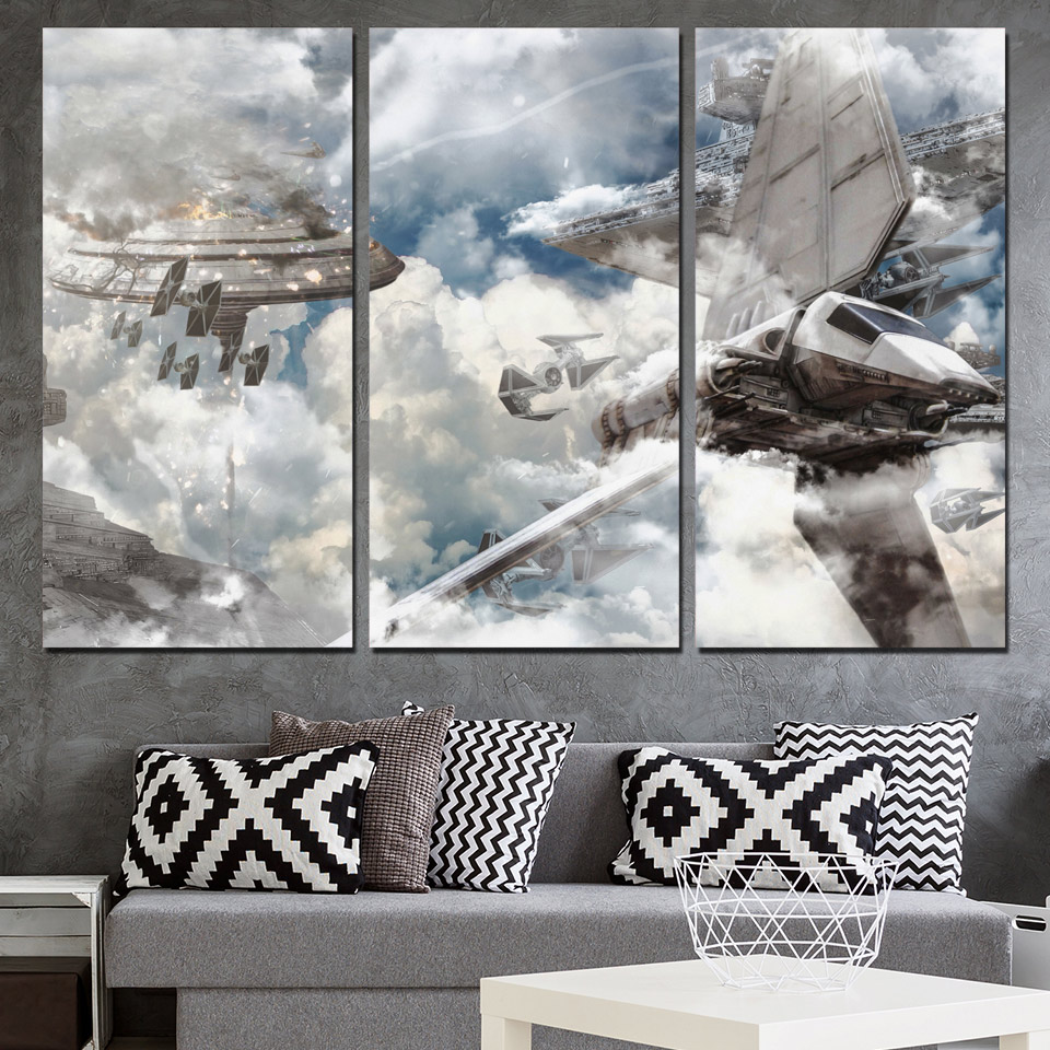 3 pcs set framed hd printed star wars bespin blockade picture wall art print decor poster canvas. Black Bedroom Furniture Sets. Home Design Ideas