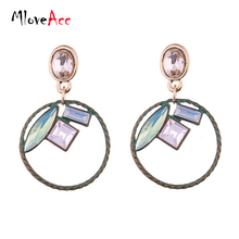 MloveAcc Vintage Hollow Round Dangle Drop Statement Earrings for Women Crystal Alloy Antique Bronze Plated Pendant Brand Jewelry