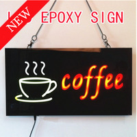 COFFEE OPEN SIGN COFFEE Epoxy Resin Glow Card Luminous Tags Animated Motion Display Flashing On Off