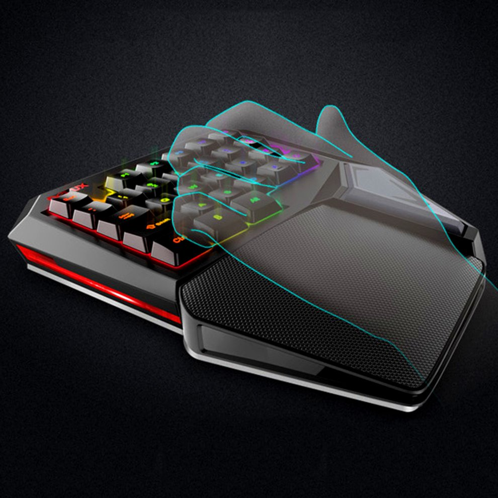 5PCS 7 Colors LED Backlight Single Hand Professional Gaming Keyboard USB Wired Anti-Ghosting Keyboard for Game 7 colors led backlight single hand professional gaming keyboard usb wired anti ghosting keyboard for game
