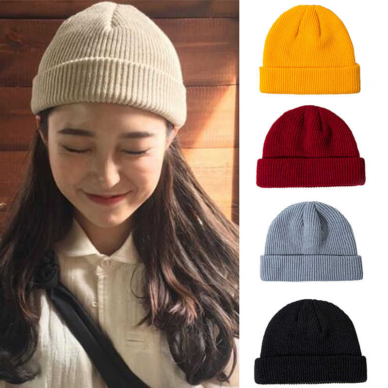 Knit Cap Solid Color Autumn Winter Hat Men Short Head Cap Outdoor Warm Melon Cap Street Head Cap Woman