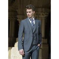 Bán buôn New Tuxedo nam phù hợp với Slim Phù Hợp Với Màu Xám terno slim fit mens Chú Rể Chàng Rể suits wedding cho nam giới (áo + Quần + gi lê + tie)