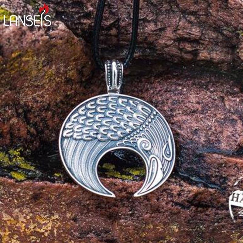 lanseis 1pcs Slavic Lunula Woman's Necklace Antique Silver Handmade Lunula Pendant Necklace Pagan Jewelry Norse