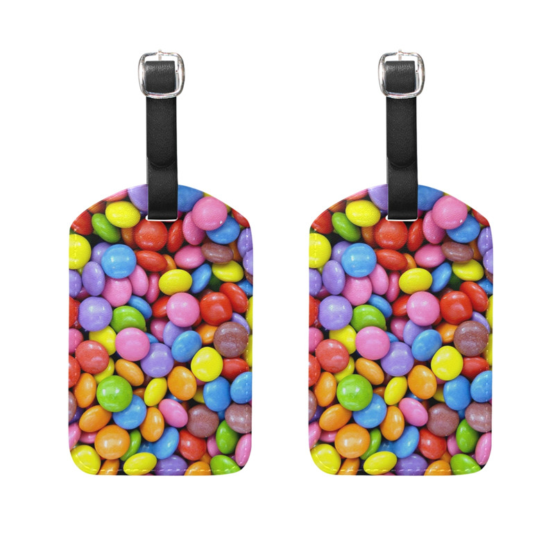 Luggage Tags, Leather Pu Fashion Bag Tag Colorful Rainbow Flowers Travel ID Labels Tag for Baggage Suitcases Bags,2 Pack 2018