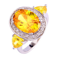 Fashion Dazzling New Citrine White Sapphire 925 Silver Ring Size 6 7 8 9 10 11 Women Wedding Engagement Free Shipping Wholesale