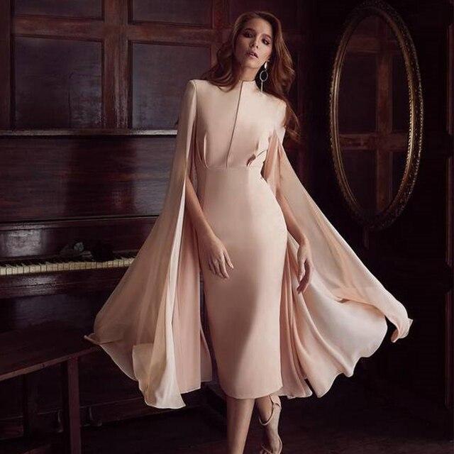 O-Neck Batwing Sleeve Knee Length Luxury Celebrity Runway Dress