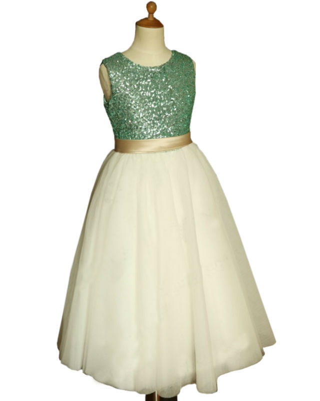 ФОТО flower girl dresses o neck style And ankle length green sequins Sleeveless Bow Sashes girls pageant vestidos de comunion
