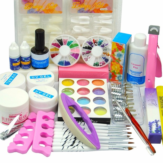 Pro UV Gel Nail Manicure Kit Sets Glitter Powder French Nail Tips ...