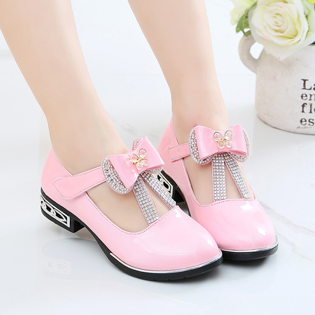 306ce5e17b6 Elegant shoes for girls children s high heel bow-tie pink girls party  casual leather kids shoes red dress shoes girls 3-11 years