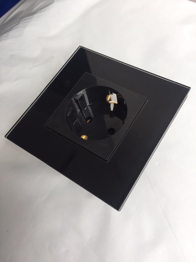 Купить с кэшбэком Round Back , EU Power Socket, Schuko, Black Crystal Glass Panel, 16A EU Standard Wall Outlet KP001EU-B