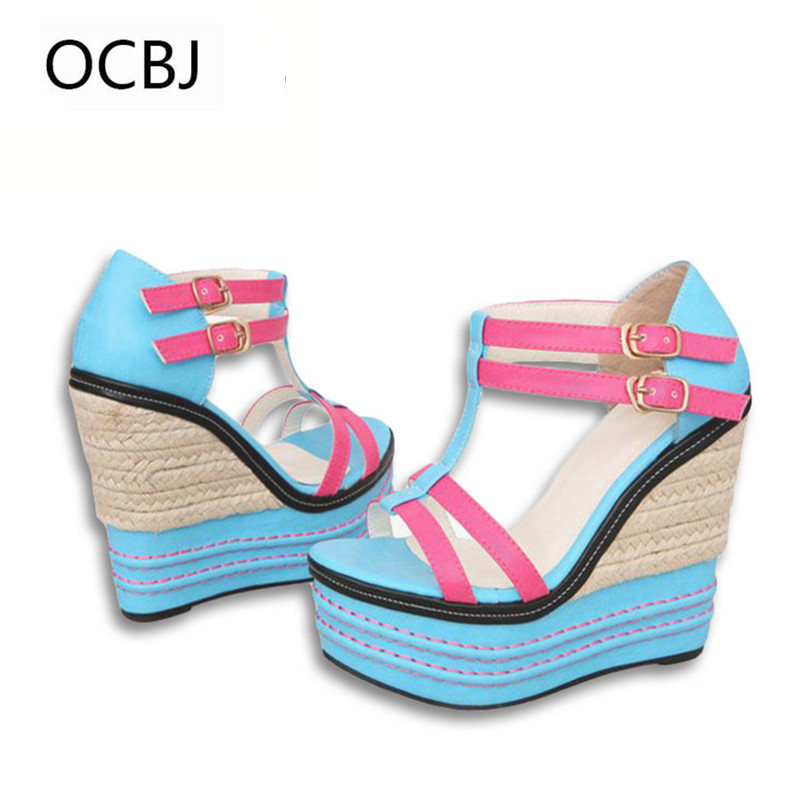 2018 Spring Summer New Women Shoes Platform Sandals High Heel Multicolor Buckles Wedge Sandal Open-toe Fashion Sweet For Ladies new women sandals low heel wedges summer casual single shoes woman sandal fashion soft sandals free shipping