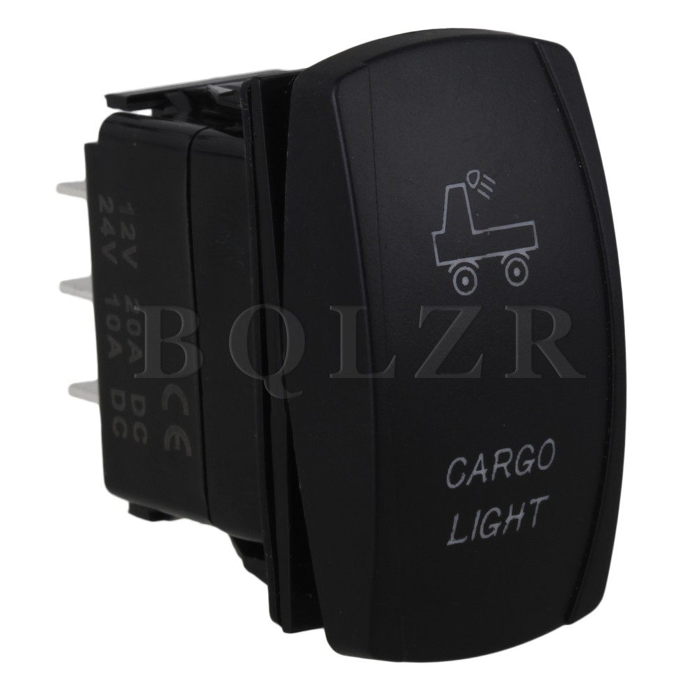 BQLZR Plastic Double Blue Cargo ON-OFF-ON Rocker Switch 7pin DC12V-24V for Cars bqlzr dc12 24v blue pattern switch s ot winch power toggle switch for old style toyota