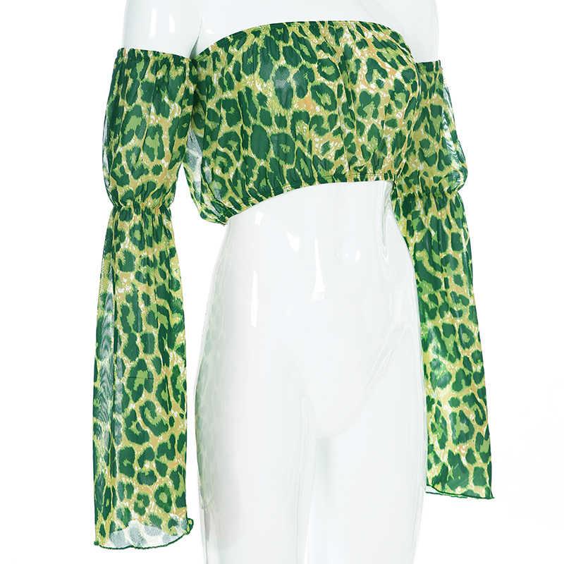 Sweet own vert léopard Animal imprimé haut court à manches longues t-shirt hors épaule Sexy en mousseline de soie Boho chemise d'été vacances vêtements