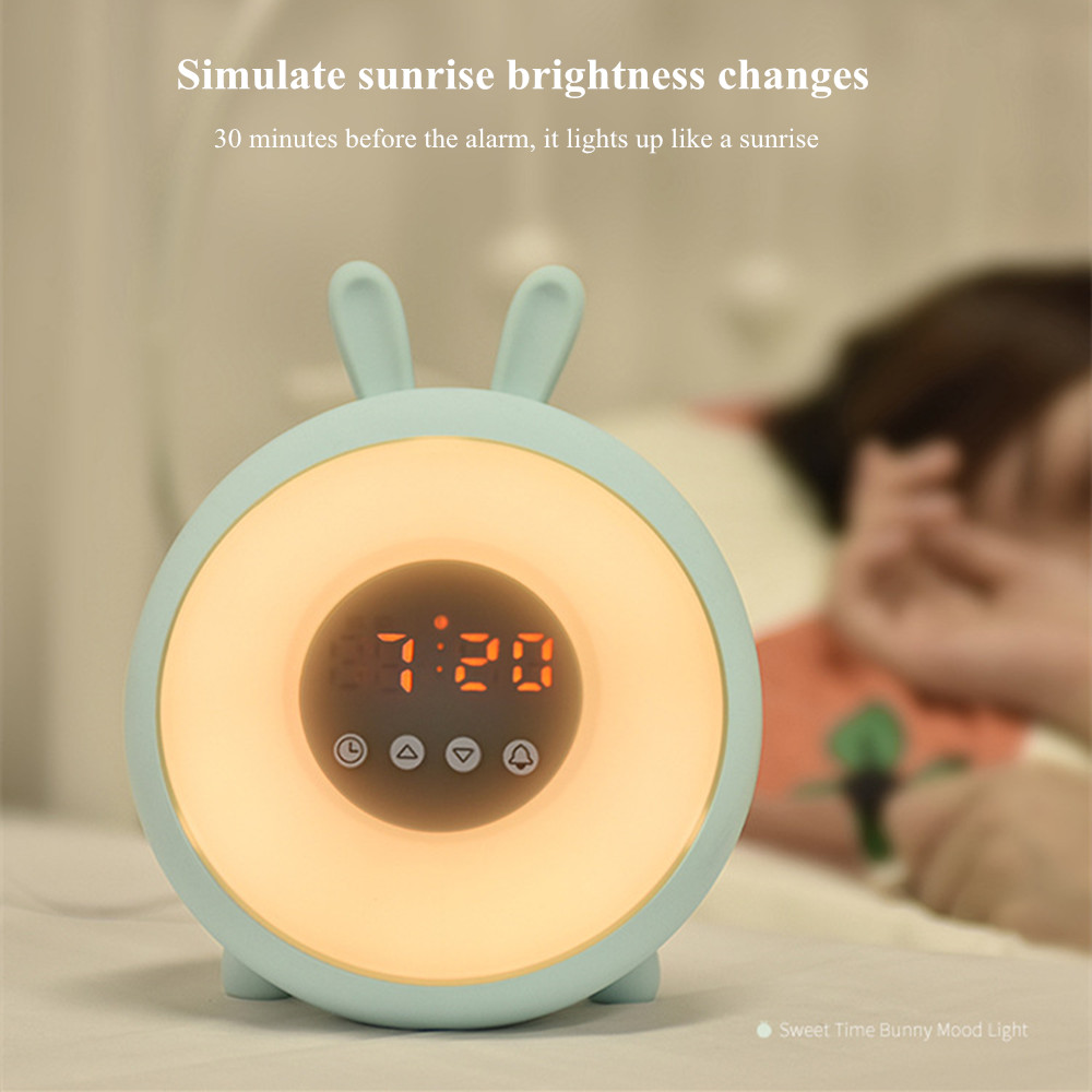 Bunny Alarm Clock with Touch Sensor Colorful LED Night Light Sunrise Sunset Modes Stepless Dimming Rabbit Bedroom Bedside Lamp (14)