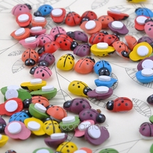 100PCS/LOT Cute Ladybug Shaped Magnetic Fridge Sticker Cartoon Animal Pattern Decoration Toy With double-sided tape