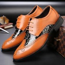 hot deal buy 2018 men oxfords shoes business color pointed shoes casual shoes lace-up bullock business men's flats push size 48