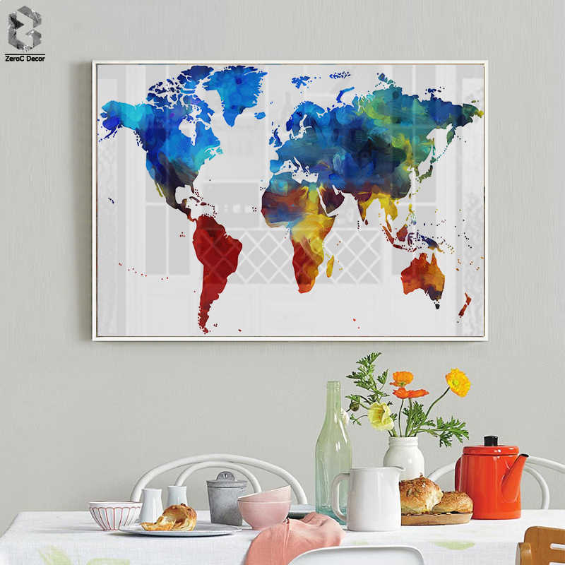 Watercolor World Map Poster Canvas Painting Wall Picture Modern Pastel Colors Map Of The World Art Prints Home Room Decoration